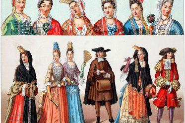 Auguste Racinet, Fontange, Amadiskostüm, Mode, Ludwig XIV, Barock, Kostümgeschichte, Schönheitspflästerchen