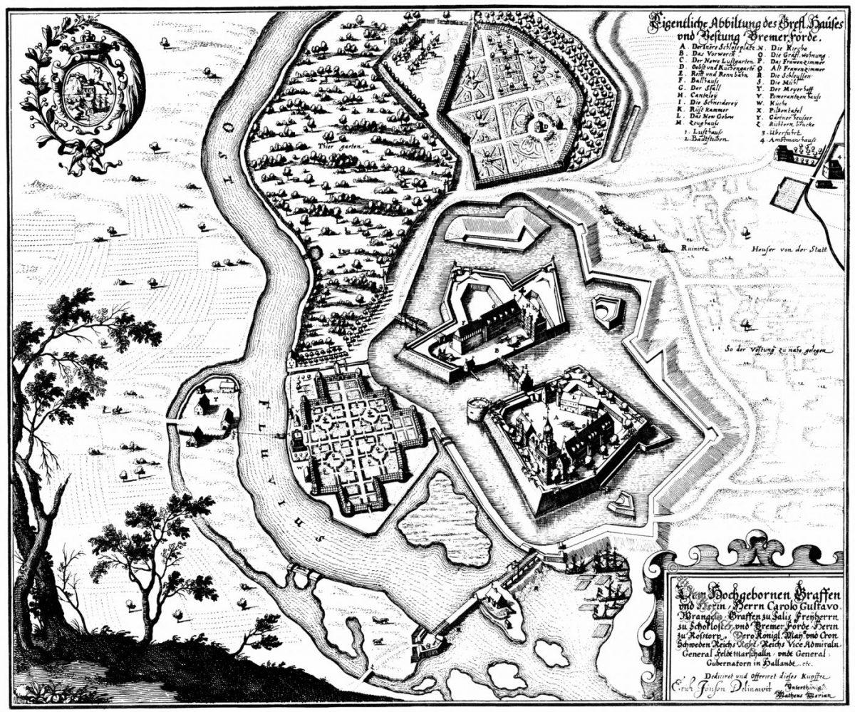 Schloss, Bremervörde, Niedersachsen, Merian, Stich, Mittellater