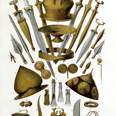Hallstattkultur. Waffen, Geräte und Schmuck.