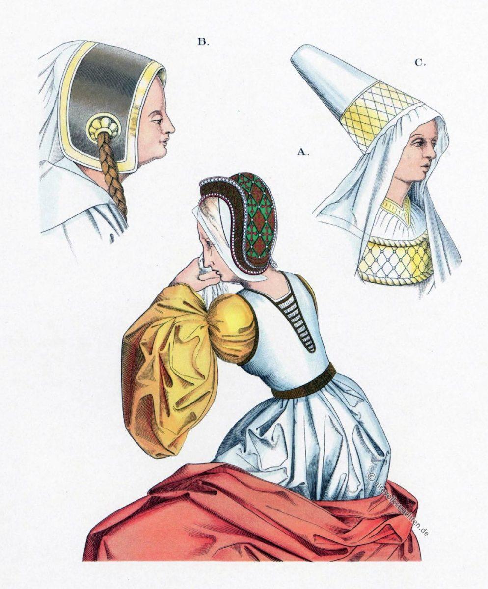 Burgunder Mode, Haube, Mittelalter, Gotik, Flandern, Kopfbedeckungen, Hefner-Alteneck
