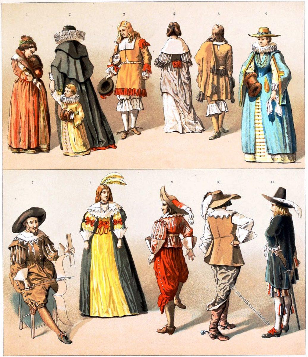 Auguste Racinet, HAUSTRACHTEN, BÜRGER, Adel, Bürgerstand, Holland, Kleidung, Barock, Kostümgeschichte,