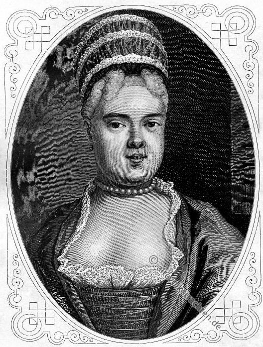 Natalia Fyodorovna Lopukhina, Russland, Komplott, Intrigen, Auspeitschung, Sibirien, Adlige, Hofbeamte, Rococo, Kleidung,