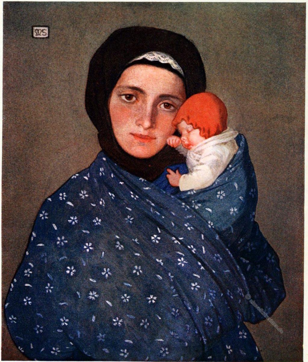 Marianne Stokes, Mutter, Kind, , Trachten, Slowakei, Menguszfalva. Mengušovce, Mengsdorf,