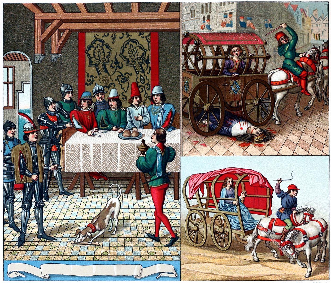 Auguste Racinet, Mittelalter, Kleidung, Einrichtung, Schloß, Saal, Kutschen, Fuhrwesen, Trachten, Mode, Sitten, Adel