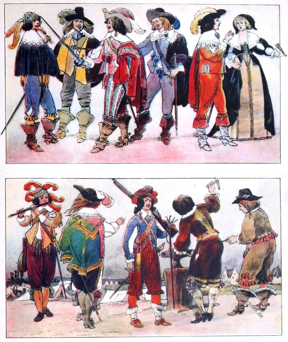 Musketier, Musketiere, Schlumperhose, Wallensteiner, Mousquetaires, Mode, Barock, Frankreich, Adolf Rosenberg, Eduard Heyck, 1630, 1647,