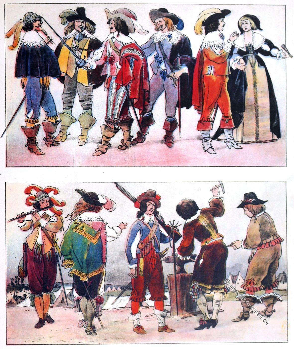 Musketier, Musketiere, Schlumperhose, Wallensteiner, Mousquetaires, Mode, Barock, Frankreich, Adolf Rosenberg, Eduard Heyck