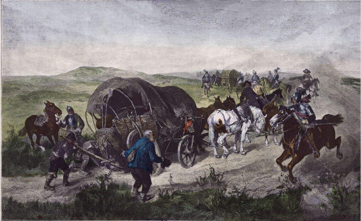 Münchener Bilderbogen, dreissigjähriger Krieg, Transport, Nachschub, Soldaten, Barock,