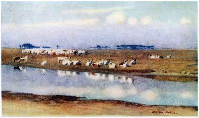 Adrian Scott Stokes, Puszta, Hortobágy, Rinderherde, Ungarn, Nationalpark, Gemälde