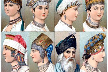 Haartrachten, Russland, Tschepatz, Kokoschnik, Кокошник, Auguste Racinet, Kostüm, Modegeschichte