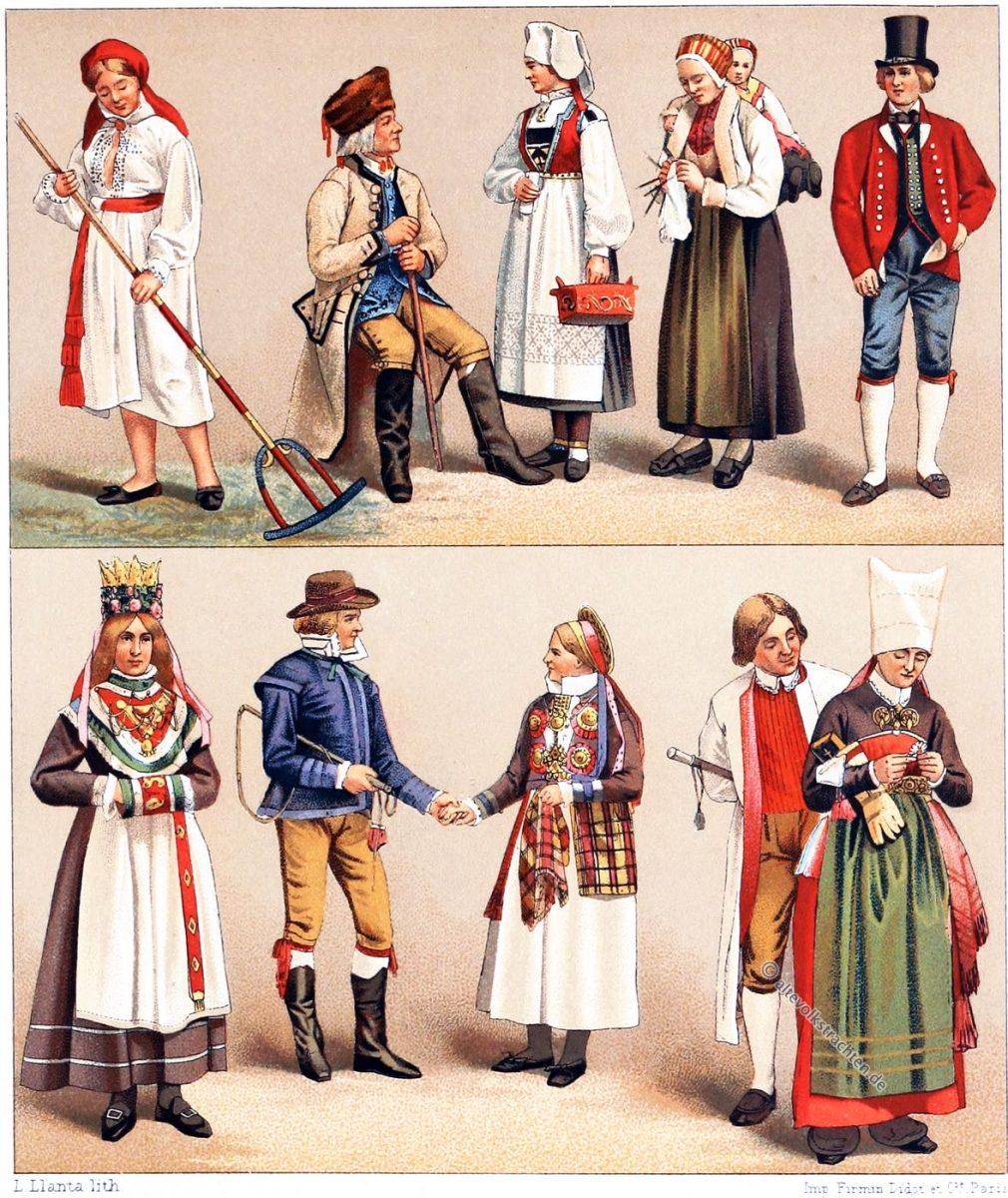 Bauerntrachten, Schweden, Norwegen, Kleidung