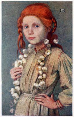 Marianne Stokes, Tracht, Marktfrau, Kalocsa, Banffy-Hunyad, Romania, Siebenbürgen, Market girl, costume