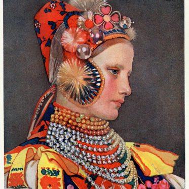 Slowakisches Mädchen aus Važec, Slowenien.