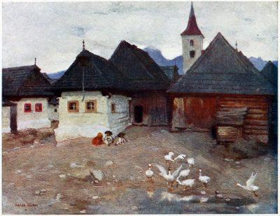 Adrian Scott Stokes, Vazsec, Važec, Waagsdorf, Slowakei, Tatra, Ansicht, Bauernhaus, Dorf,