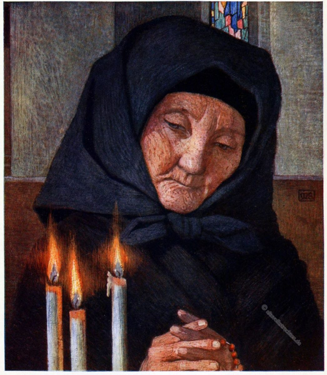 Marianne Stokes, Andacht, Totengebet, Trauerkleidung, Ungarn, Prayer, Kalocsa, Hungary