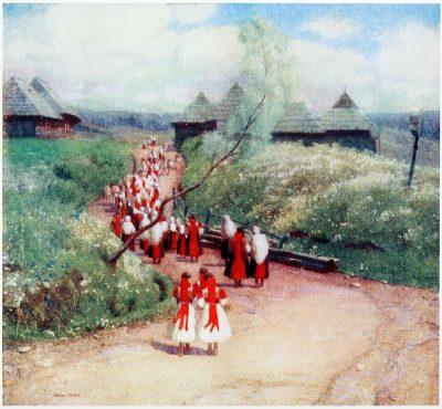 Adrian Scott Stokes, Dorfbewohner, Kirche, Zsdjar, Slowakei, Zdiar, Ždiar, Goralen, Slovakia