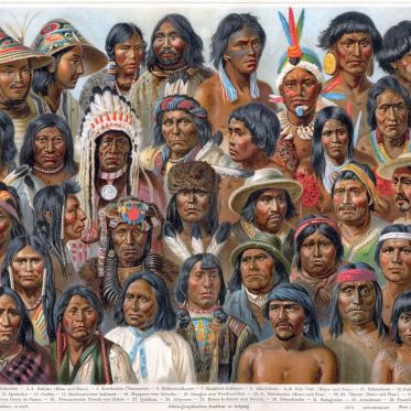 Haartrachten und Kopfschmuck der amerikanischen Völker.