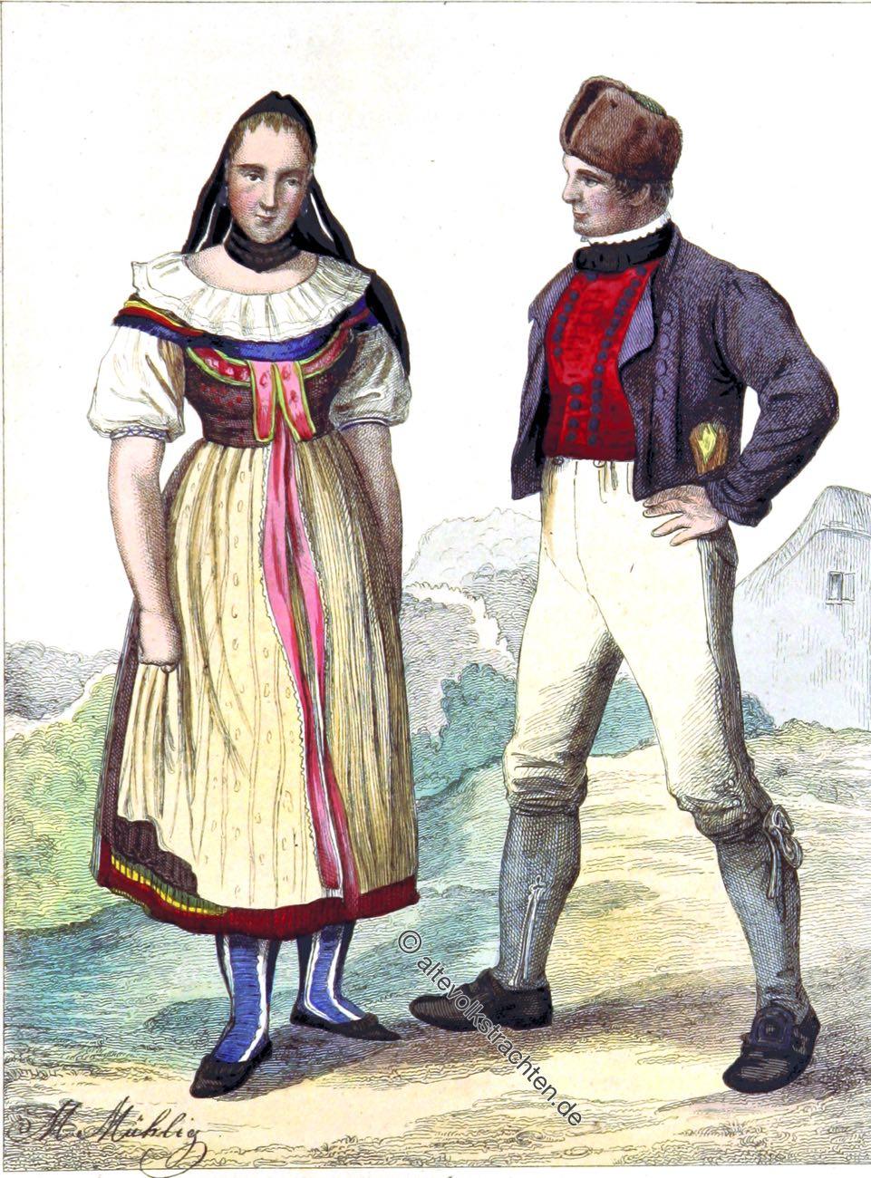 Trachten, Bauerntrachten, Bauersleute, Herzogtum, Braunschweig.