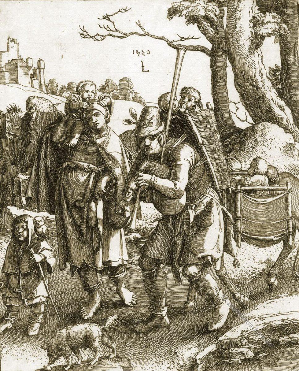 Lucas van Leyden, Bettlerfamilie, Bettler, Mittelalter, Trachten, Kupferstich, Eulenspiegel