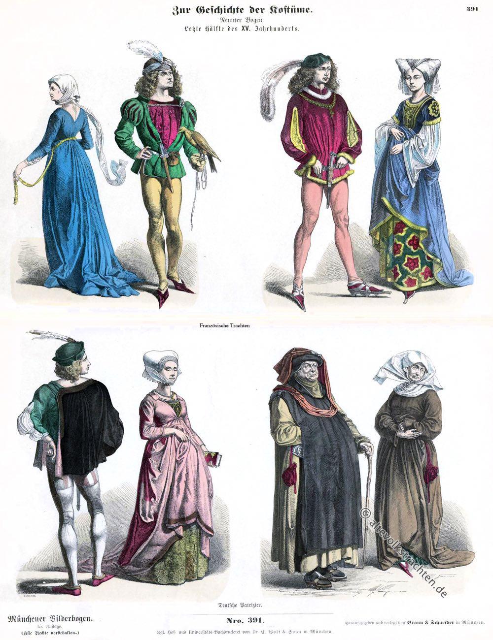 Münchener Bilderbogen, Patrizier, Burgund, Mittelalter, Mode, Kostüme, Gotik