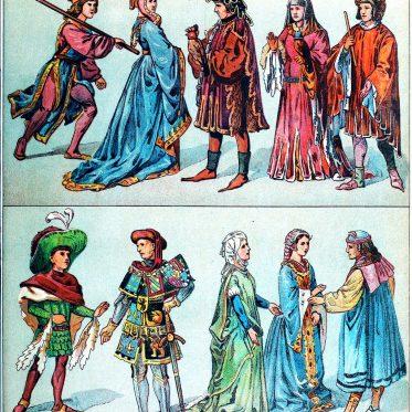 Herzogtum Burgund. Kostümgeschichte des 15. Jahrhunderts.
