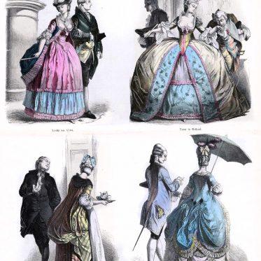 Frankreich Hoftracht mit Reifrock 1780