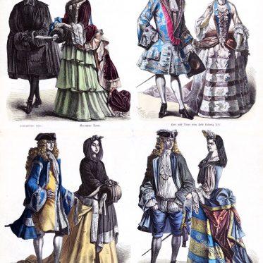 Louis XIV. Hoftrachten. Frankreich, Deutschland um 1710.