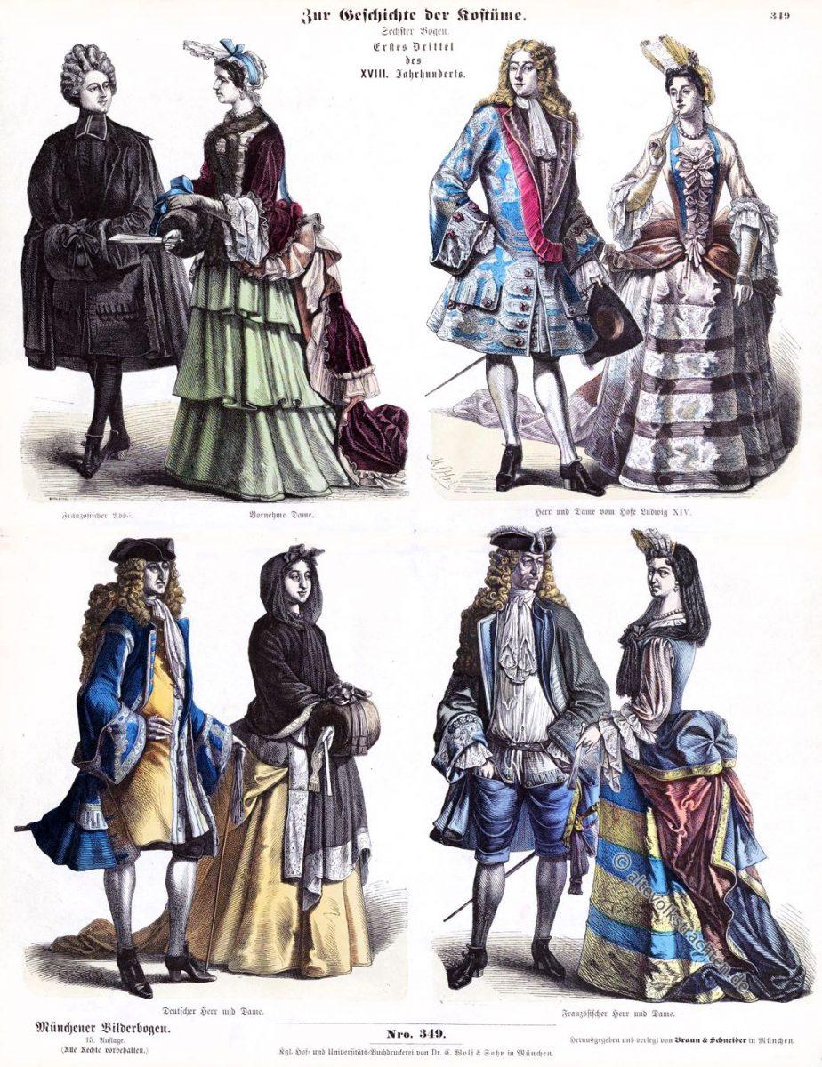 Münchener Bilderbogen, Abbé, Louis XIV, Mode, Barock, Fontange, Kleidung, Hoftrachten, Kostümgeschichte