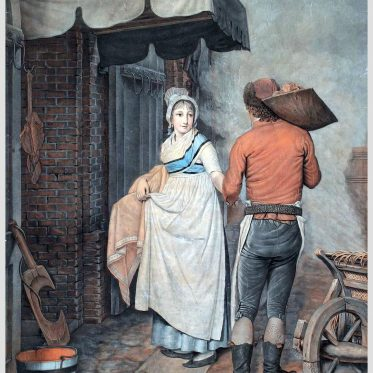 Stubenmädchen, Knecht. Hamburger Trachten um 1800.