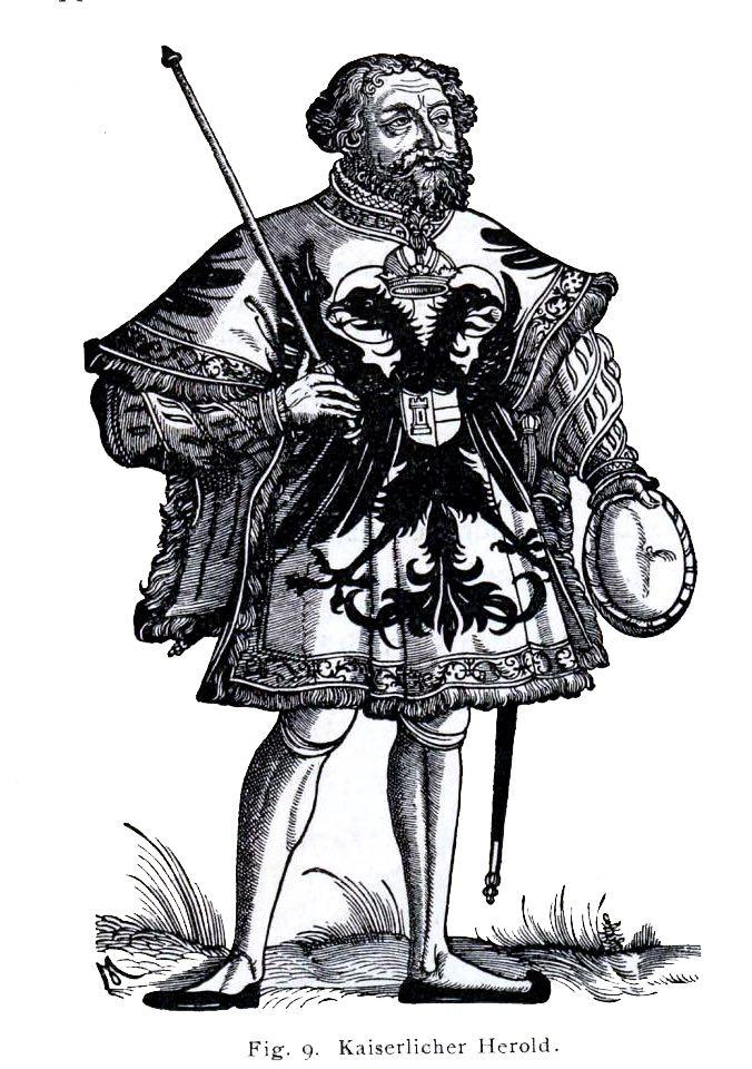 Kaiserlicher, Herold, Wappen, Heraldik, Wappenbrief, Wappenmantel, Tappert, Heroldstappert, Mittelalter,