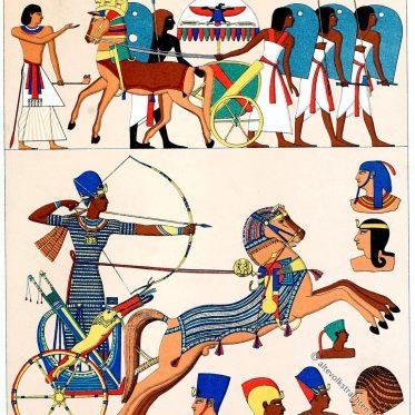 Ägypten. Kriegstrachten und Kopfbedeckungen.
