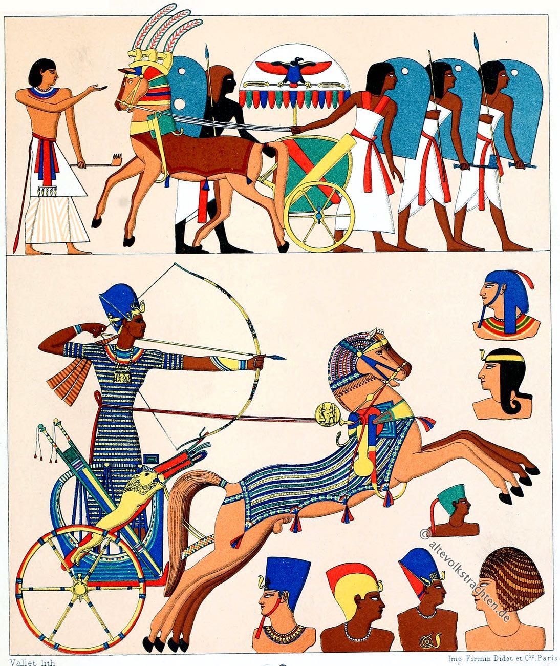 Ägypten, Kriegstrachten, Kopfbedeckungen, Pharao, Trachten, Antike, Auguste Racinet