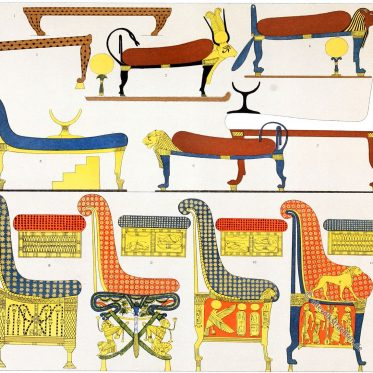 Abbildungen des Mobiliars aus dem Grab des Pharao Ramses IV.
