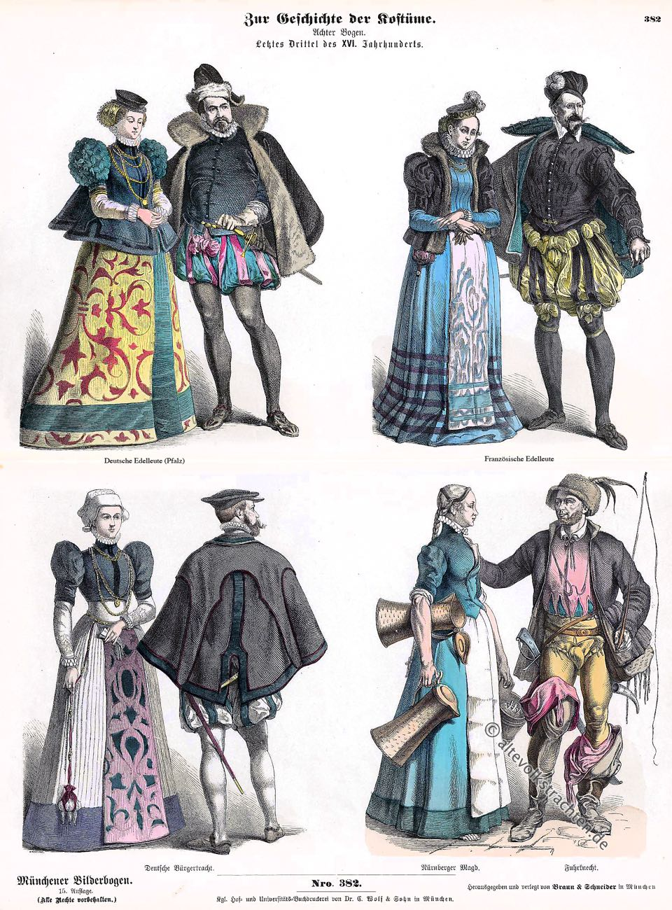 Münchener Bilderbogen, Kostüme, Trachten, Fuhrknecht, Magd, Bürger, Edelleute, Renaissance