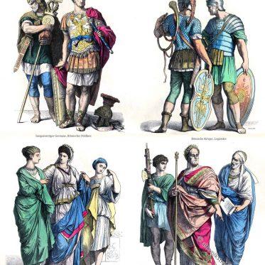 Römer der Antike. Römische Kostüme. Militär, Bürgerlich, Adel.