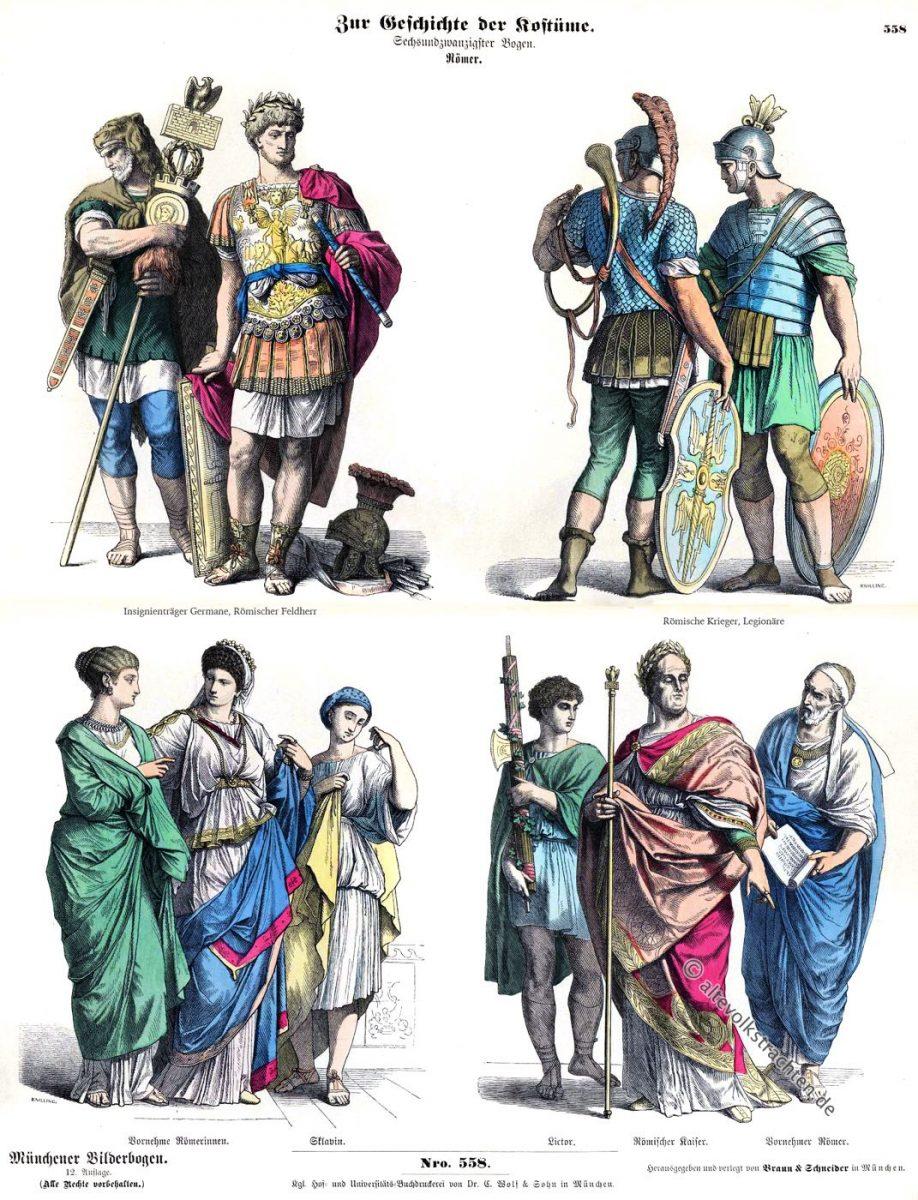 Münchener Bilderbogen, Germane, Römischer Feldherr, Römische Krieger, Legionäre, Vornehme Römerinnen, Sklavin, Lictor, Römischer Kaiser, Vornehmer Römer