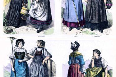 Kostüme, Trachten, Münchener Bilderbogen, Zug, Simmental, Guggisberg, Wallis, Unterwalden, St. Gallen, Schaffhausen, Bern