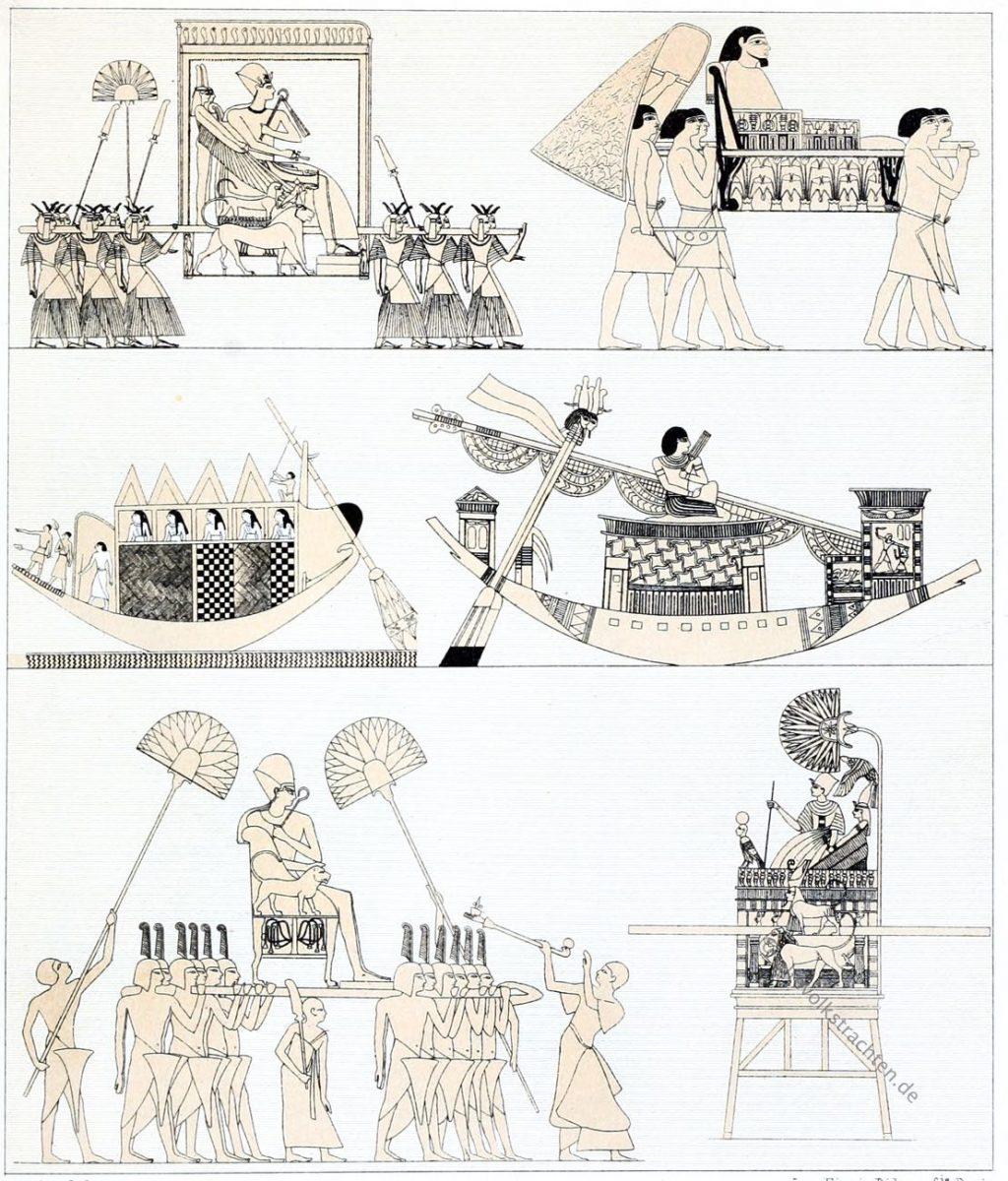 Ägypten, Palankine, Sänften, Pharao, Trachten, Antike, Auguste Racinet