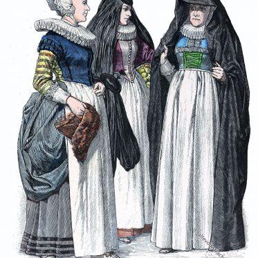 Matrone, Dienstmädchen, Bürgerin. Bürgerliche Frauentrachten 17. Jh.