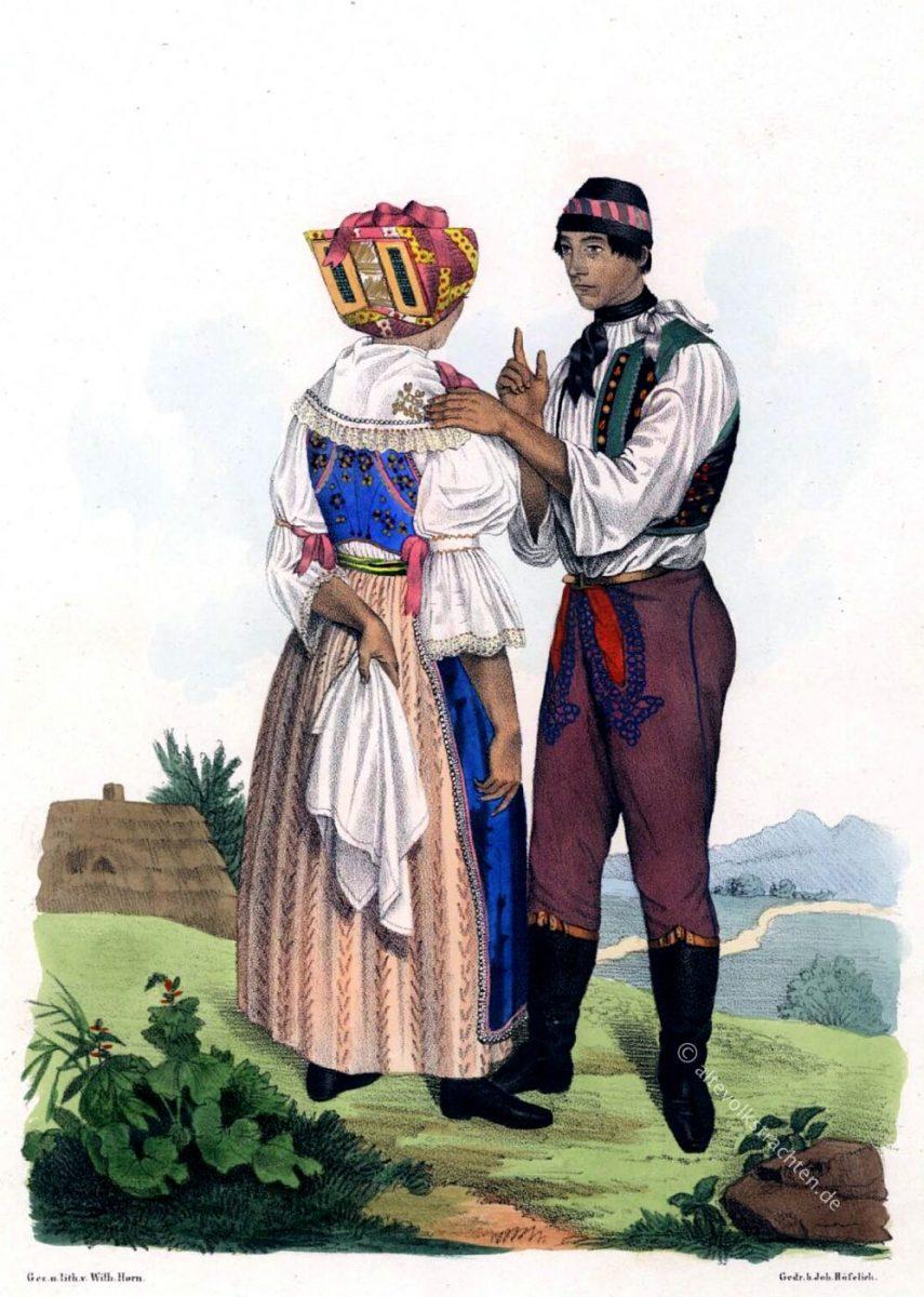 Mährische Volkstrachten, Brünner Kreis, Herrschaft Lundenburg (Břeclav), Ehepaar. (Kroaten)