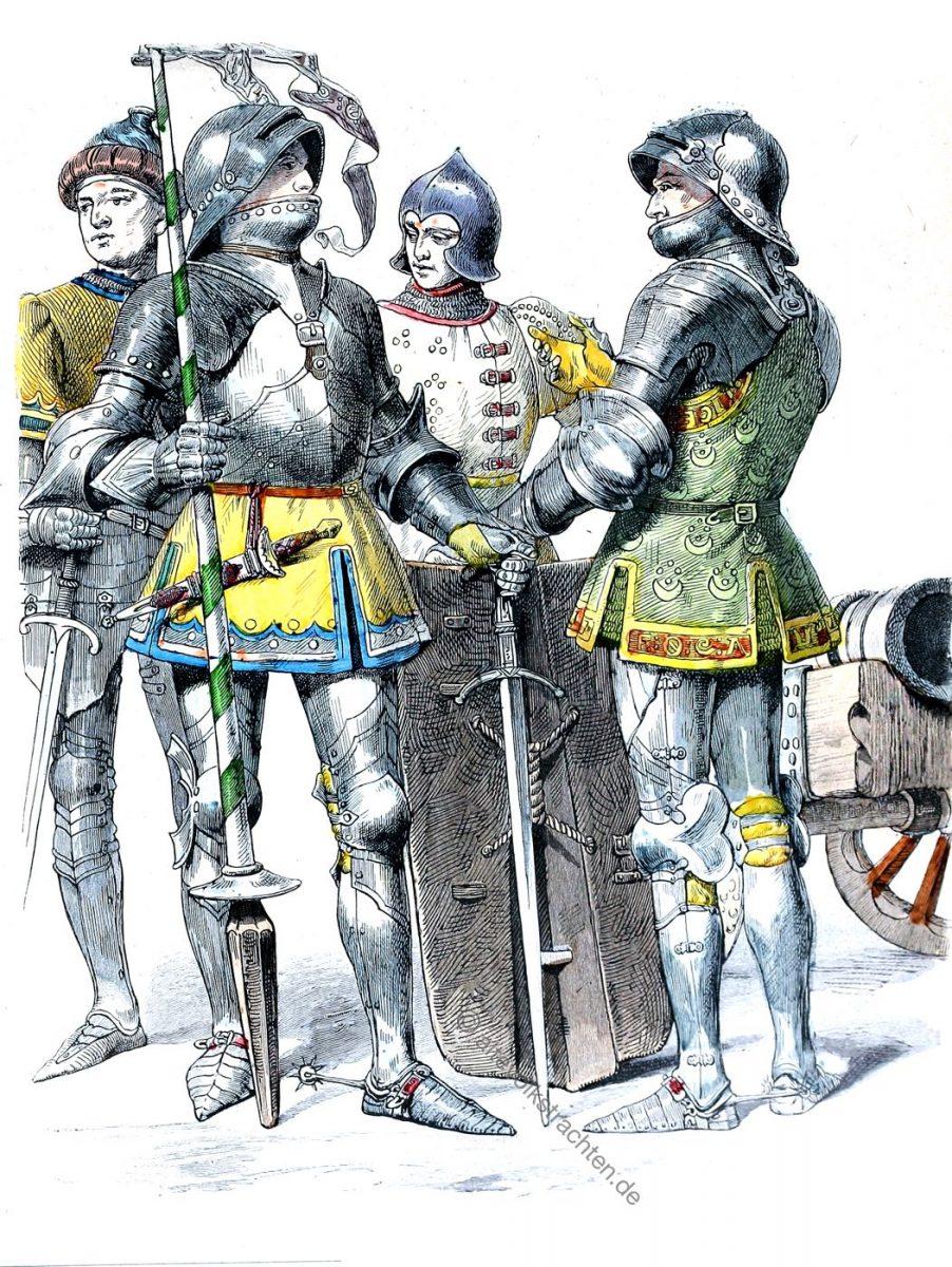 Münchener Bilderbogen, Burgunder, Ritter, Rüstung, Trachten, Kostümgeschichte, Mittelalter, Gotik