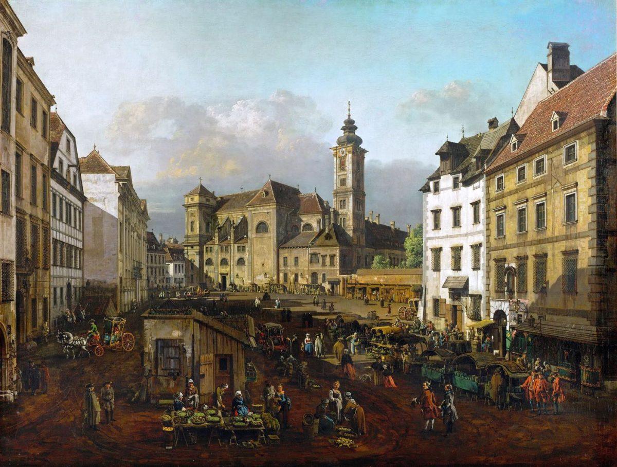 Die Freyung mit dem Markt. Ansicht von Südosten. Im Hintergrund die Schottenkirche. Bernardo Bellotto genannt Canaletto (1722-1780).