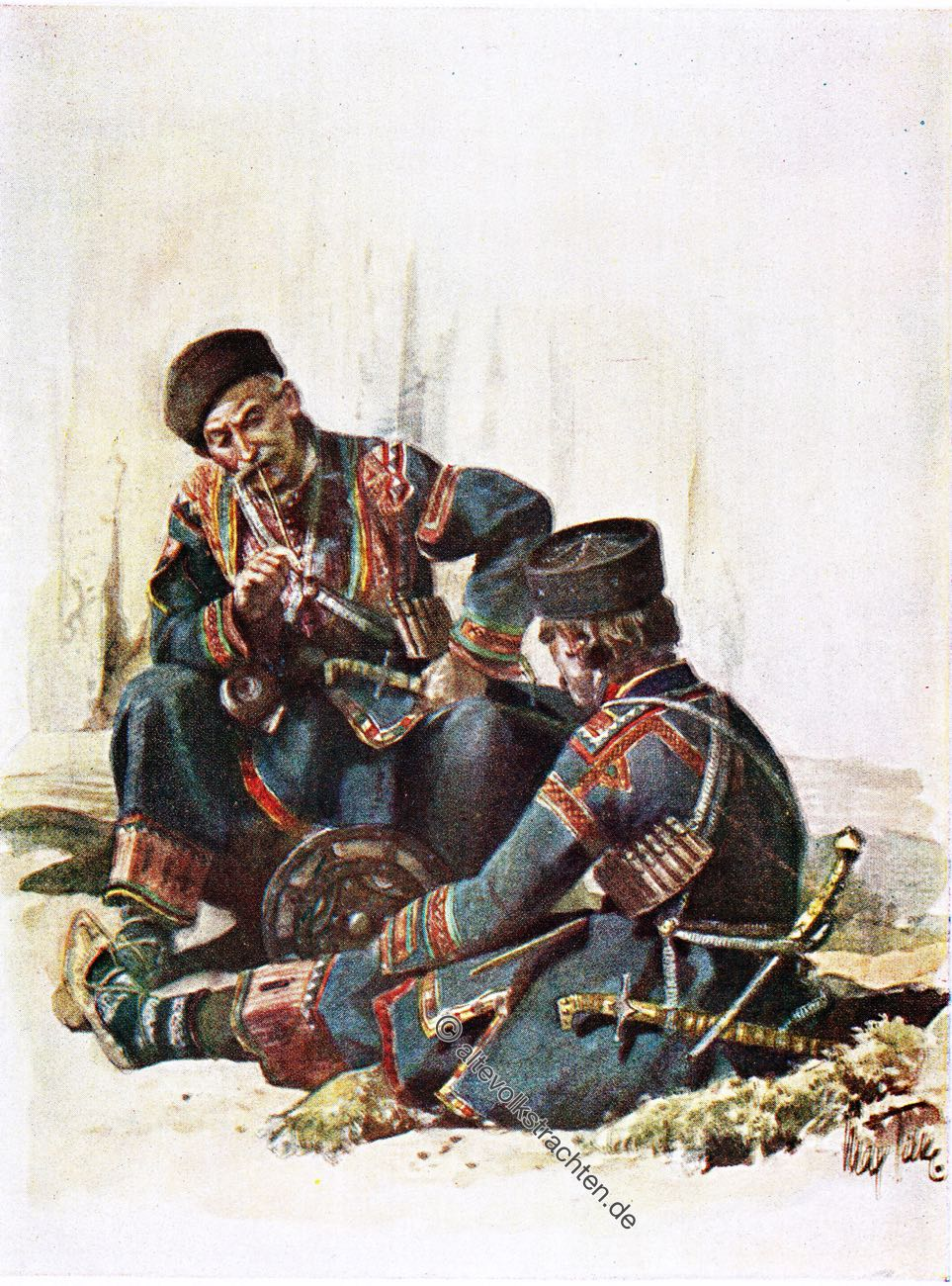 Khevsurs, Georgia, Max Tilke, Caucasus, costume, dress, traditional,