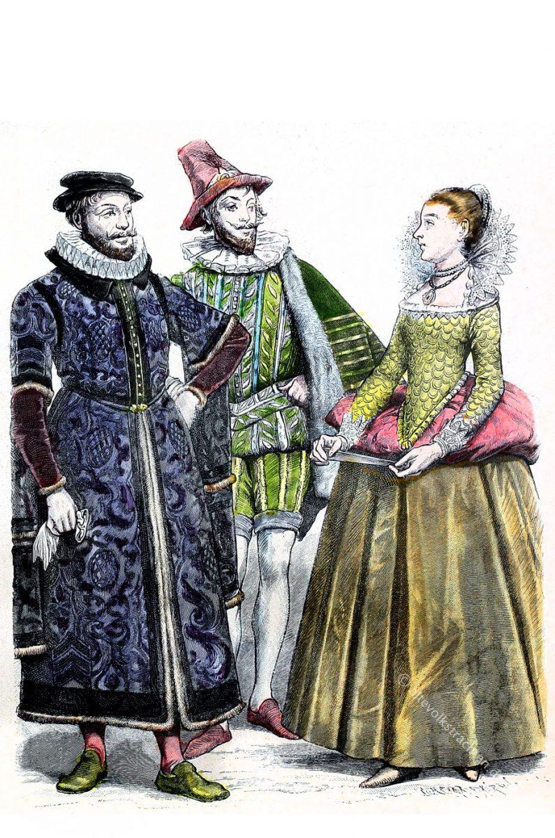 Kaufmann in London. Kavalier 1550-1600. Lady vom Hof der Königin Elisabeth.  England, Tudor Epoche. Mode der Renaissance