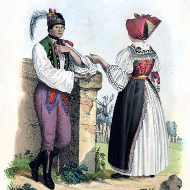 Tracht eines ledigen Paares aus der Gegend von Břeclav