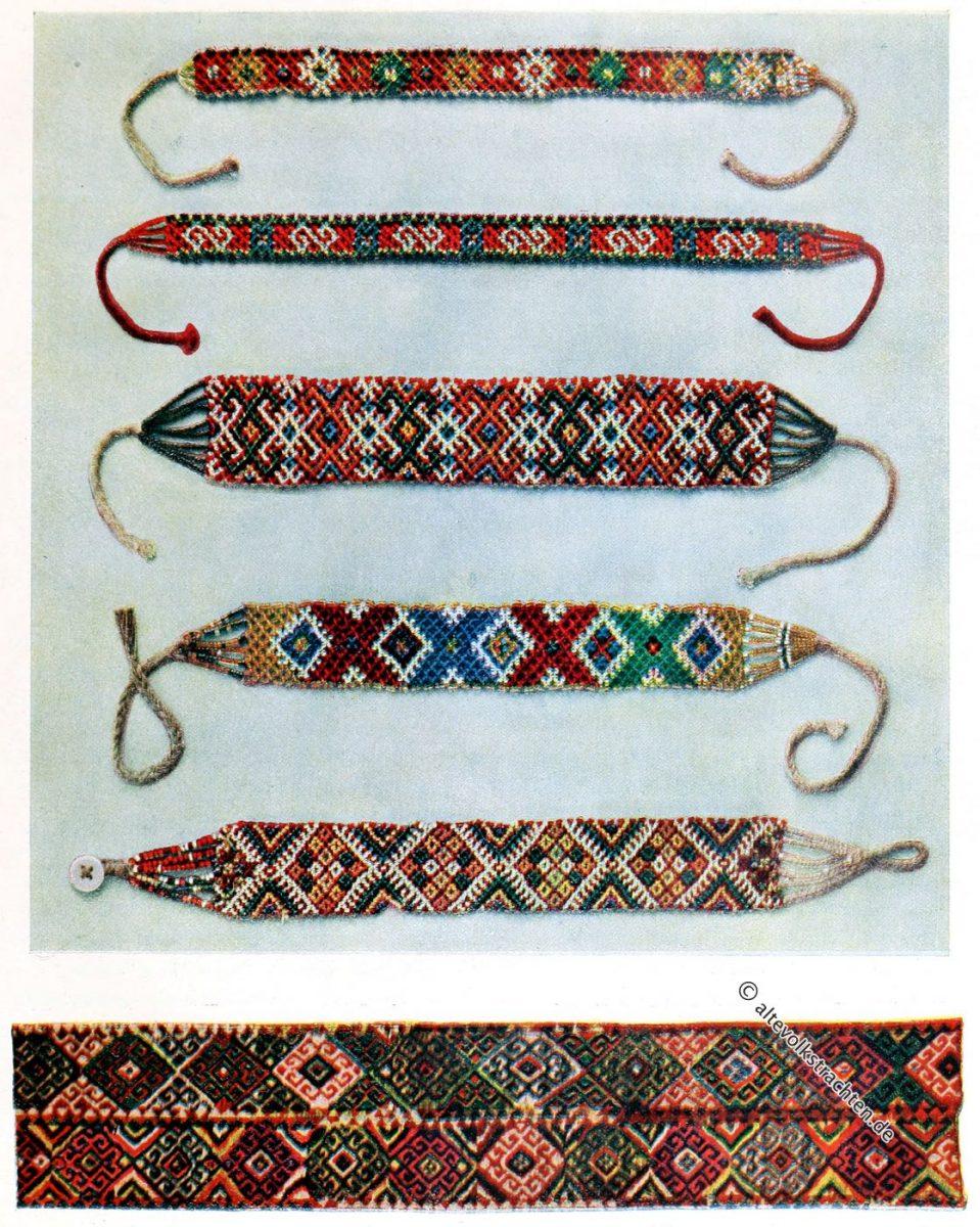 """Frauen Glasperlen Halsketten aus Neresnice und Jasinia. Gewebter Streifen zur Verzierung einer kirgisischen """"Kibitka"""". Ukraine, Serbien, Volkskunst, Bauernkunst"""