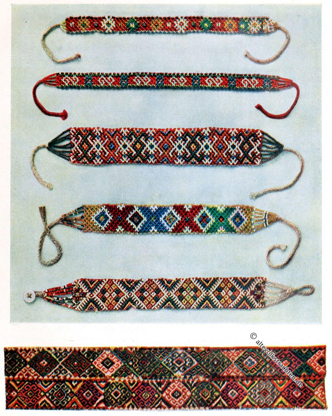 Glasperlen, Halsketten, Verzierung, Kibitka, Ukraine, Serbien, Volkskunst, Bauernkunst