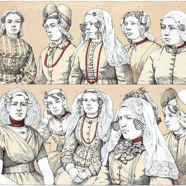 Holland. Die alten Haartrachten, Stirn- und Schläfenschmuck.