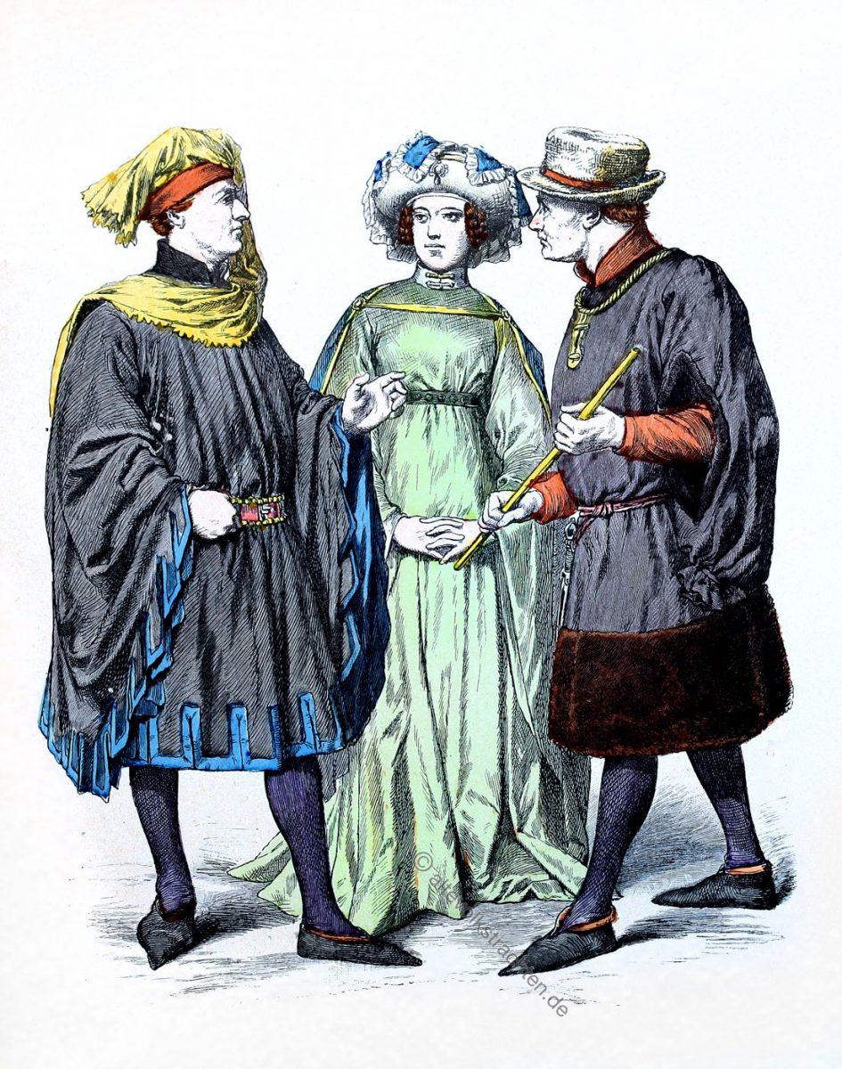 Niederlande im Mittelalter. Kostüme des 15. Jahrhunderts. Münchener Bilderbogen Nr. 962.