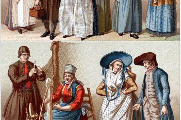 Schipper oom, Volkstrachten, Holland, Niederlande, Marken, Zuiderzee, Alkmaar, Friesland, Schokland, Ens, Auguste Racinet