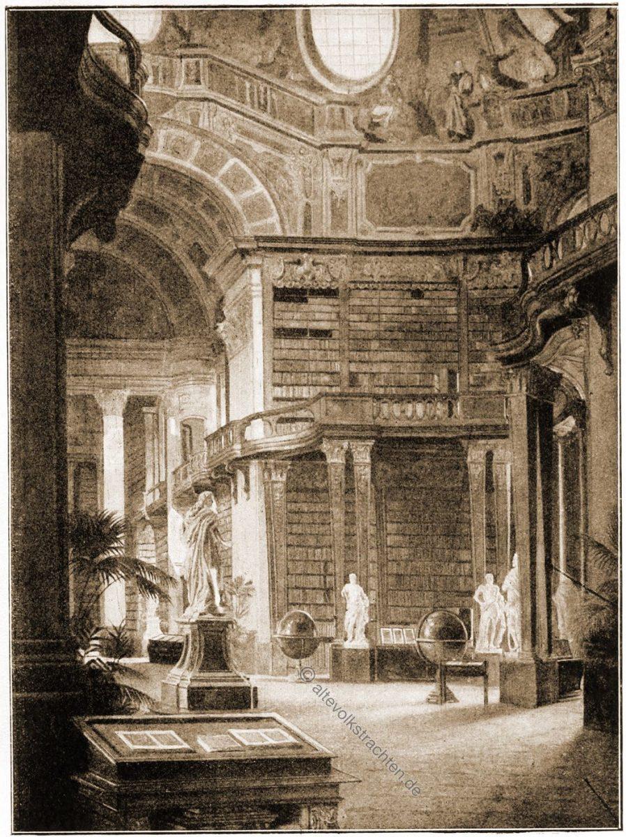 Der Kuppelsaal der Hofbibliothek in Wien. Nach einem Gemälde von Karl Probst.